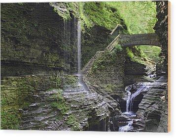 Rainbow Falls And Stone Bridge Wood Print by Gene Walls