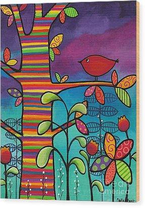 Rainbow Forest Wood Print by Carla Bank