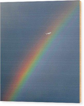 Rainbow Gods Promise. Wood Print by Joyce Woodhouse