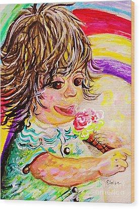 Rainbow Ice Cream Wood Print by Eloise Schneider
