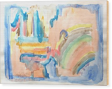 Wood Print featuring the painting Rainbow In A Box by Esther Newman-Cohen