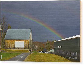 Rainbow In Maine Wood Print by Alice Mainville