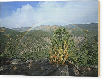 Wood Print featuring the photograph Rainbow In Mountains by Harold Rau