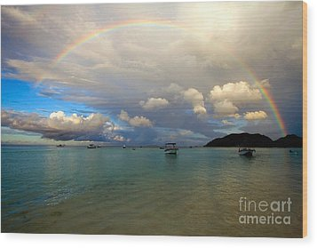 Rainbow In The Seychelles Wood Print by Tim Holt