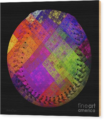 Rainbow Infusion Baseball Square Wood Print by Andee Design