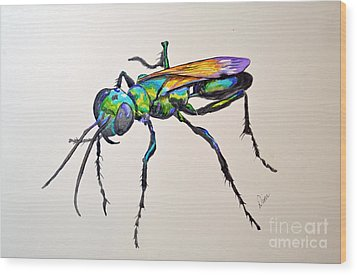 Rainbow Insect Wood Print by Dion Dior