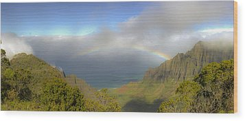 Rainbow Kalalau Valley Wood Print by Norman Blume