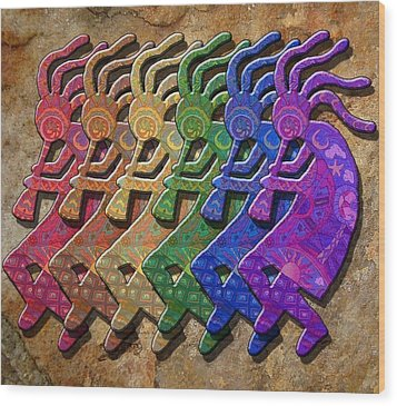Rainbow Kokopellis Wood Print by Megan Walsh