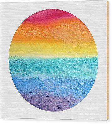 Wood Print featuring the painting Rainbow Landscape  by Susan  Dimitrakopoulos