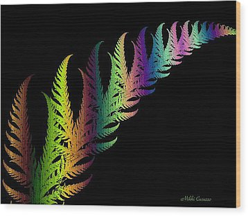 Rainbow Leaves Fractals Wood Print by Mikki Cucuzzo
