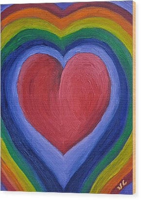 Rainbow Love Wood Print by Victoria Lakes