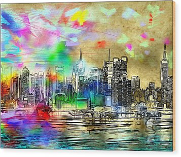 Rainbow Nyc Skyline Wood Print