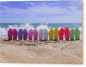 Rainbow Of Flip Flops On The Beach Wood Print