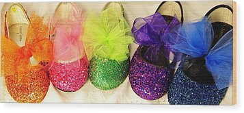 Rainbow Of Wedding Shoes Wood Print