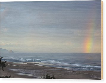Rainbow On My Beautiful Beach Wood Print