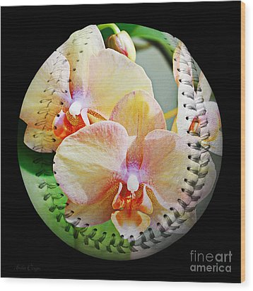 Rainbow Orchids Baseball Square Wood Print by Andee Design
