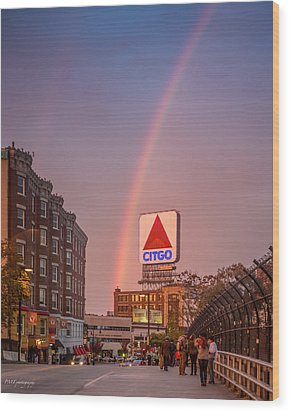 Rainbow Over Fenway Wood Print by Paul Treseler