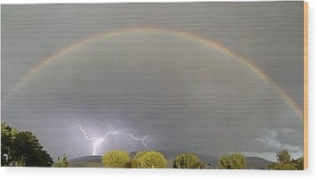 Rainbow Over Lightening Wood Print