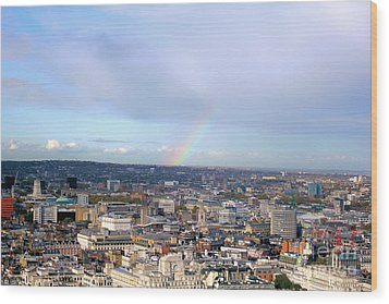 Rainbow Over London Wood Print by Melissa Petrey