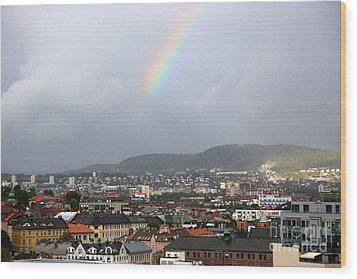 Rainbow Over Oslo Wood Print by Carol Groenen