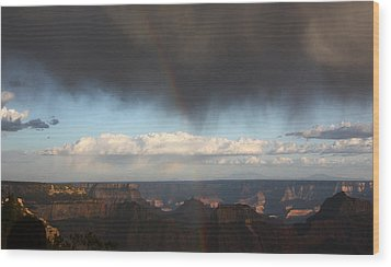 Rainbow Over The Grand Canyon Wood Print