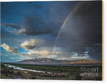 Rainbow Over The Sandias Wood Print by Jim McCain