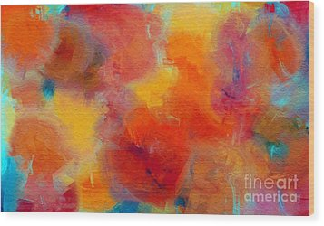 Rainbow Passion - Abstract - Digital Painting Wood Print by Andee Design