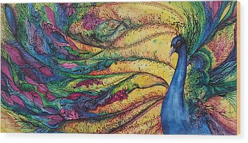 Rainbow Peacock Wood Print