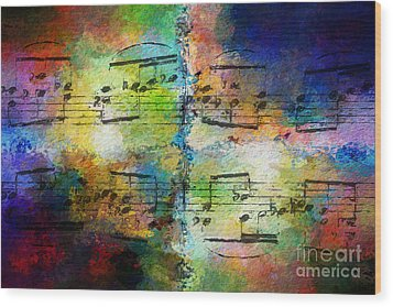 Wood Print featuring the digital art Rainbow Quad by Lon Chaffin