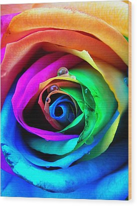 Rainbow Rose Wood Print