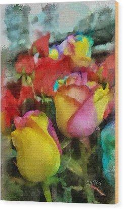 Rainbow Roses Watercolor Digital Painting Wood Print