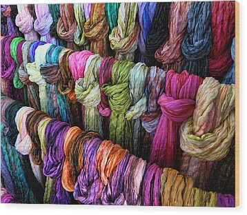 Wood Print featuring the photograph Rainbow Scarfs  by Kim Andelkovic