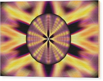 Wood Print featuring the drawing Rainbow Seed Of Life by Derek Gedney