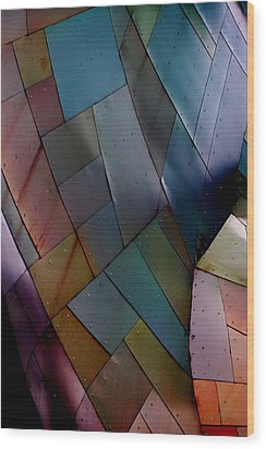 Rainbow Shingles Wood Print by Holly Blunkall