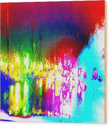 Rainbow Splash Abstract Wood Print