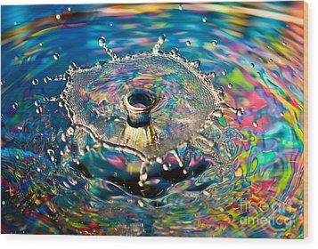 Rainbow Splash Wood Print by Anthony Sacco