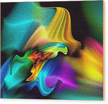 Rainbow Splashes Wood Print by Lea Wiggins