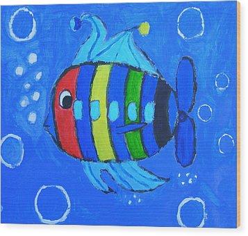 Rainbow Submarine Fish Wood Print