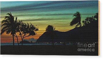 Rainbow Sunset Wood Print