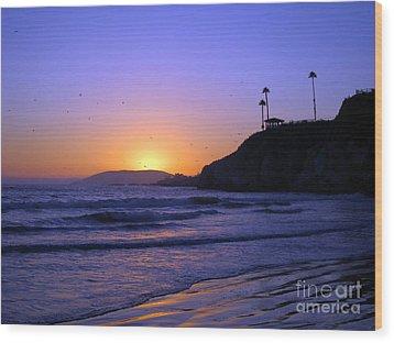 Rainbow Sunset Wood Print by Debra Thompson