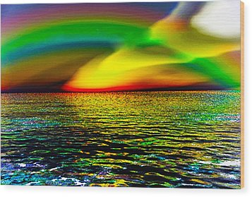 Rainbow Thunder      Enhanced Version Wood Print by Rebecca Phillips