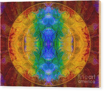A Rainbow Of Chaos Abstract Mandala Artwork By Omaste Witkowski Wood Print by Omaste Witkowski
