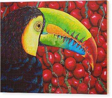 Rainbow Toucan Wood Print by Daniel Jean-Baptiste