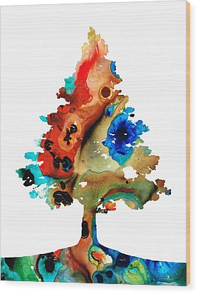 Rainbow Tree 2 - Colorful Abstract Tree Landscape Art Wood Print by Sharon Cummings