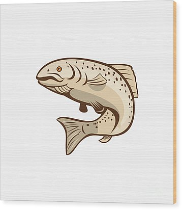 Rainbow Trout Jumping Cartoon  Wood Print by Aloysius Patrimonio