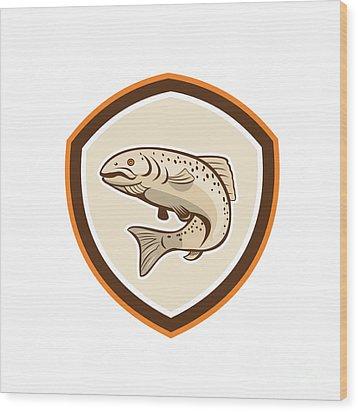 Rainbow Trout Jumping Cartoon Shield Wood Print by Aloysius Patrimonio