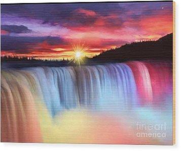 Rainbow Waterfall Wood Print by Belinda Threeths