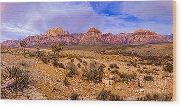 Rainbow Wilderness Panorama At Red Rock Canyon Before Sunrise - Las Vegas Nevada Wood Print