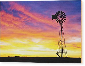 Rainbow Windmill Wood Print by Shirley Heier