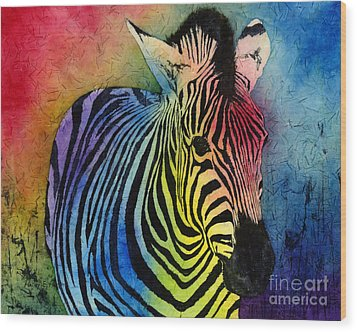 Rainbow Zebra Wood Print
